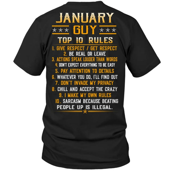 Top Rules Guy January - Hanes Tagless Tee / Black / S - Apparel