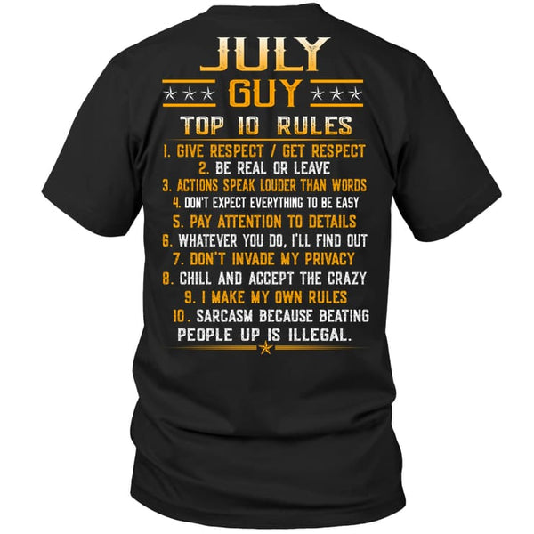 Top Rules Guy July - Hanes Tagless Tee / Black / S - Apparel