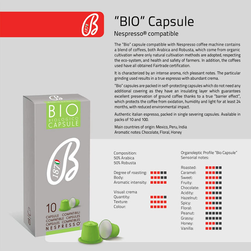 B1870 Barbera Organic Nespresso Compatibl Compostable Coffee Capsules Intensity 6 Bio, 60 Pods - Pods and Beans