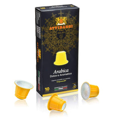 Attibassi Nespresso Compatible Coffee Capsules Arabica, 10 Pods - Pods and Beans