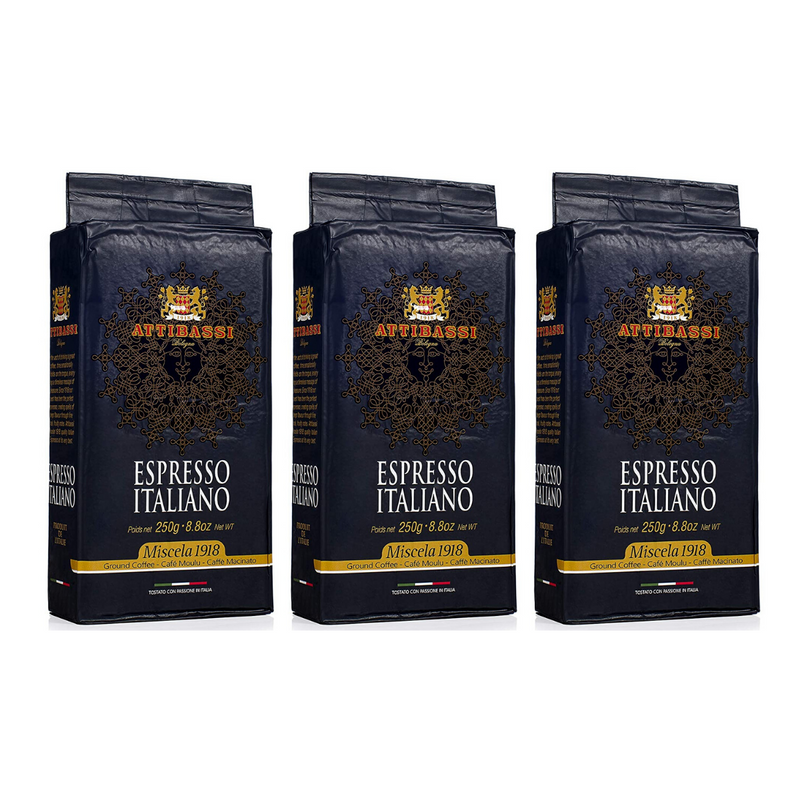 Attibassi Espresso Italiano Medium Roast Premium Ground Coffee 8.8 oz. - Pack of 3 - Pods and Beans