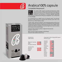 B1870 Barbera Nespresso Compatible Coffee Capsules Intensity 7 100% Arabica, 10 Pods - Pods and Beans
