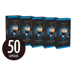 Caffitaly Espresso Collection Nespresso Compatible Coffee Capsules Intensity 5 - Deca, 50 Pods - Pods and Beans