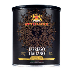 Attibassi Espresso Italiano Medium Roast Premium Ground Coffee Tin Can 8.8 oz. - Pack of 1 - Pods and Beans