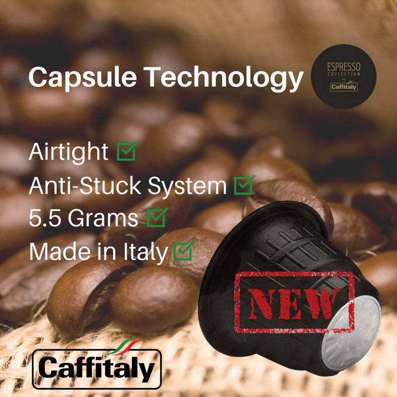 Caffitaly Coffee Capsules Compatible with Nespresso - Variety Pack Medium and Dark Roast, India Ethiopia Brasile 30 Pods - Pods and Beans