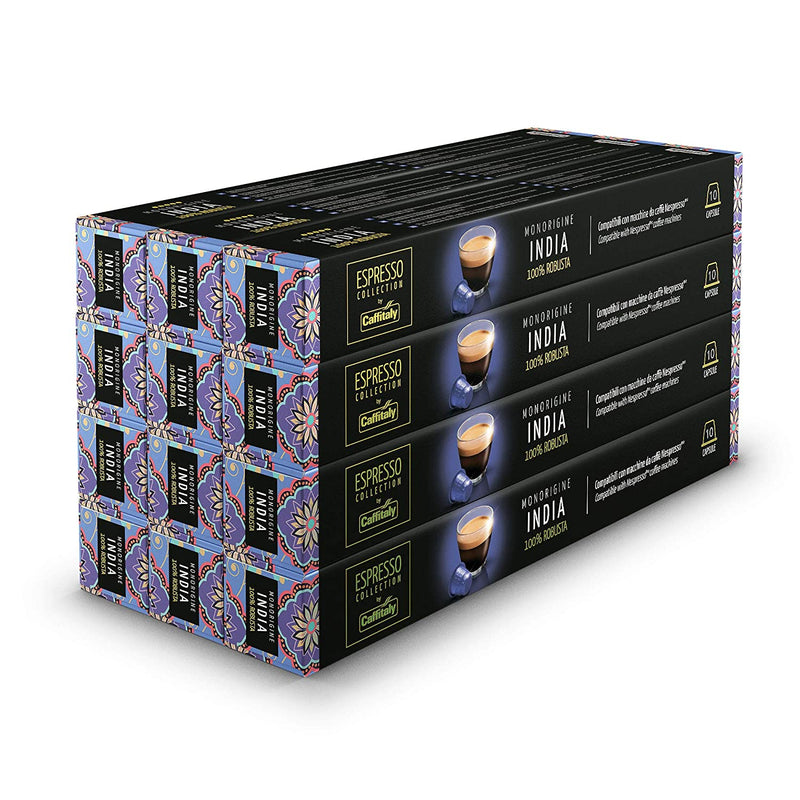 Caffitaly Nespresso Compatible Coffee Capsules Premium Blend Italian - India 120 Pods - Pods and Beans