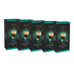 Caffitaly Espresso Collection Nespresso Compatible Coffee Capsules Intensity 8 - Vivace, 50 Pods - Pods and Beans