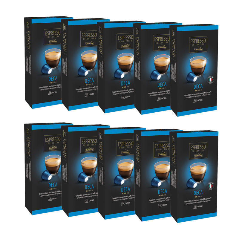 Caffitaly Espresso Collection Nespresso Compatible Coffee Capsules Intensity 5 - Deca, 100 Pods - Pods and Beans