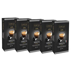 Caffitaly Espresso Collection Nespresso Compatible Coffee Capsules Intensity 7 - Robusto, 50 Pods - Pods and Beans