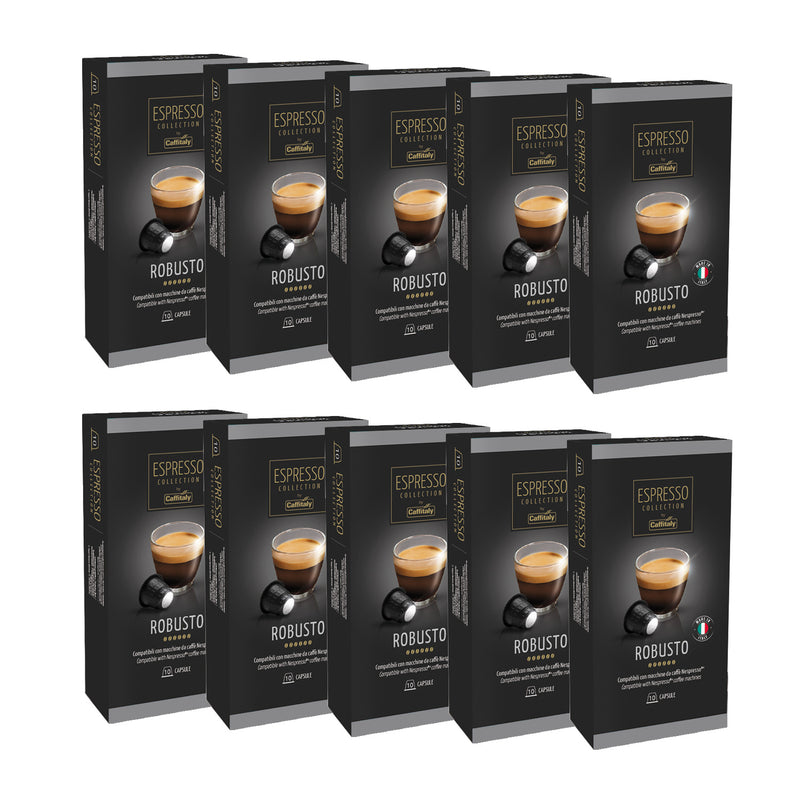 Caffitaly Espresso Collection Nespresso Compatible Coffee Capsules Intensity 7 - Robusto, 100 Pods - Pods and Beans
