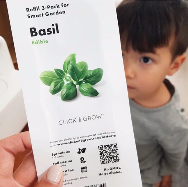 boy looking at caregiver holding a pack of click & grow basil plant pods