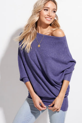 Indigo Off-The-Shoulder Knit Sweater