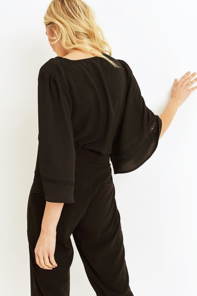 Black V-Neck Bell Sleeve Blouse