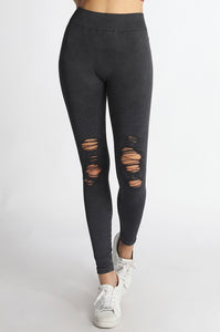 Premium Black Distressed Motto Jeggings