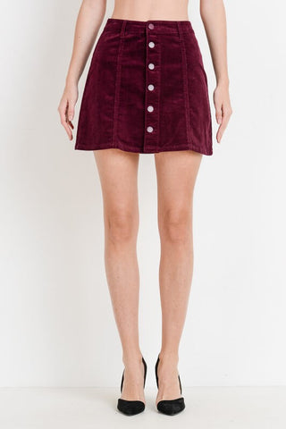 Corduroy A-Line Button Down Skirt in Blackberry