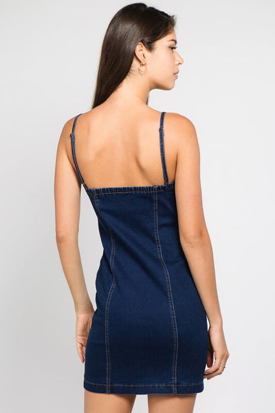 Denim Zipper Mini Dress
