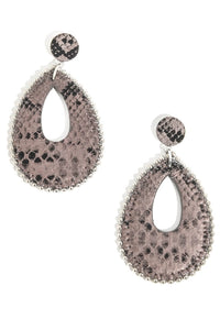 Faux Snake Skin Drop Earrings