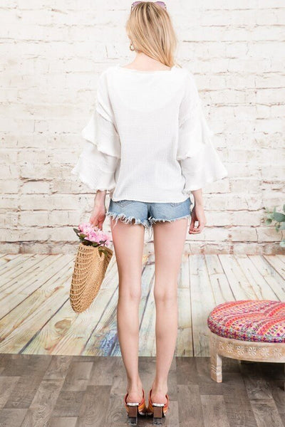 White Tiered Bell Sleeve Blouse