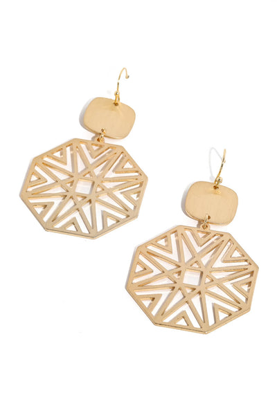 Gold Geometric Filigree Drop Earrings