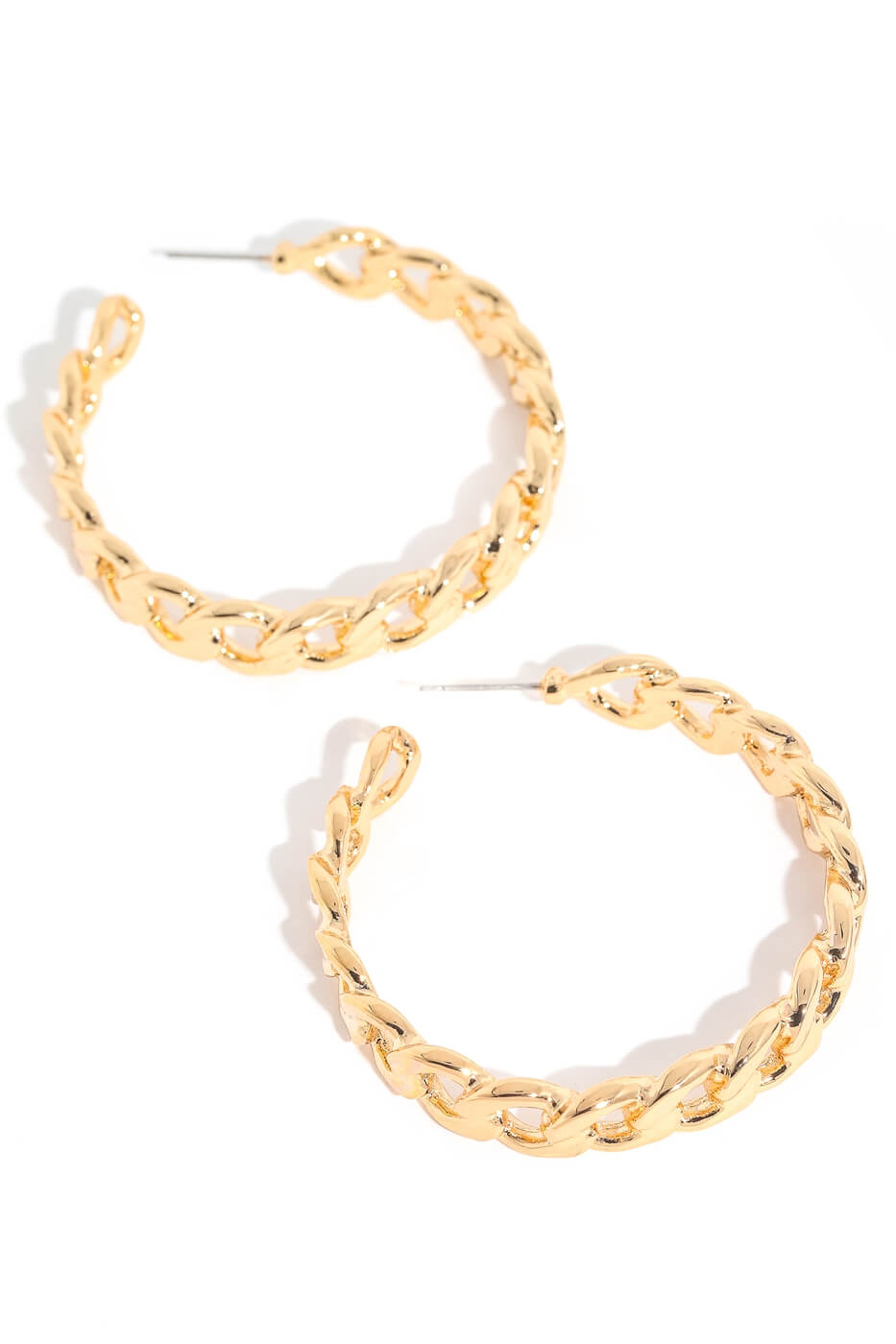 Gold Flat Chain Link Hoop Earrings