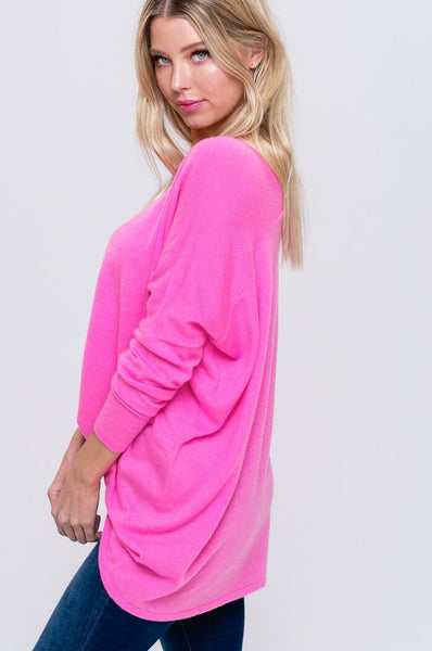 Soft Luxe Dolman Sweater in Neon Pink