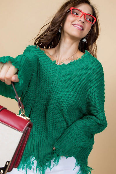 Kelly Green Distressed Sweater