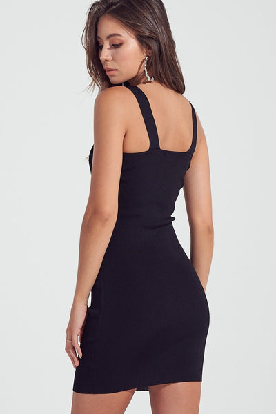 Metal Detailed Overall Mini Dress in Black