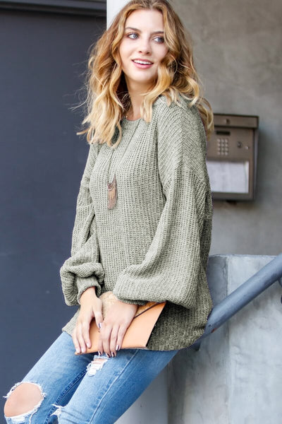 Sage Balloon Sleeve Sweater