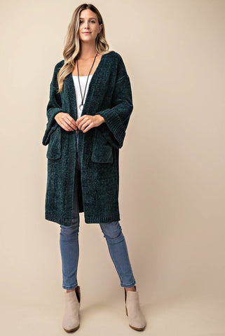 Plush Chenille Long Cardigan
