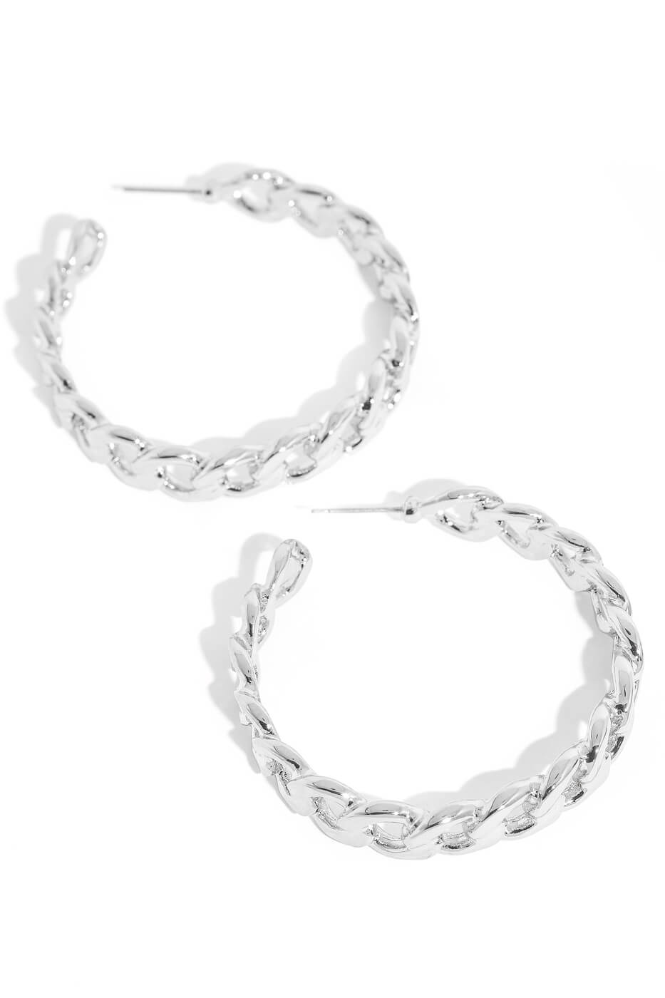 Silver Flat Chain Link Hoop Earrings