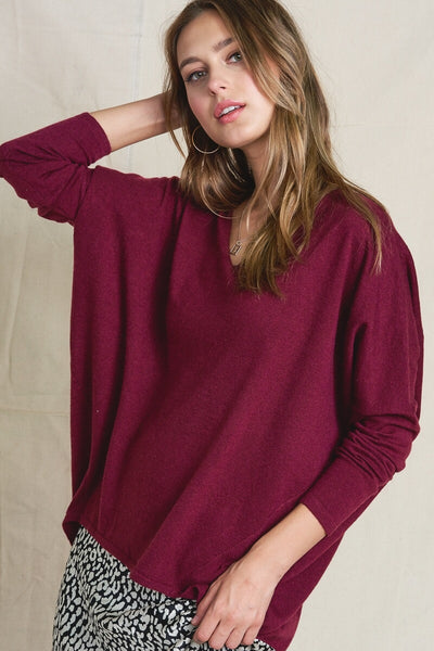 Soft Luxe Dolman Sweater in Wine