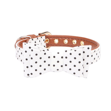 Polka dot bow collar