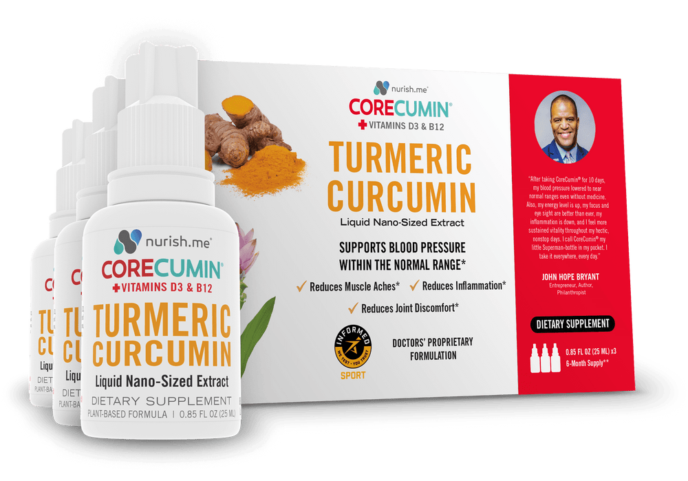CoreCumin® 25ml - Original Formulation (3-Pack) -  Reduces Joint Pain Caused by Inflammation  Supports Blood Pressure Within the Normal Range