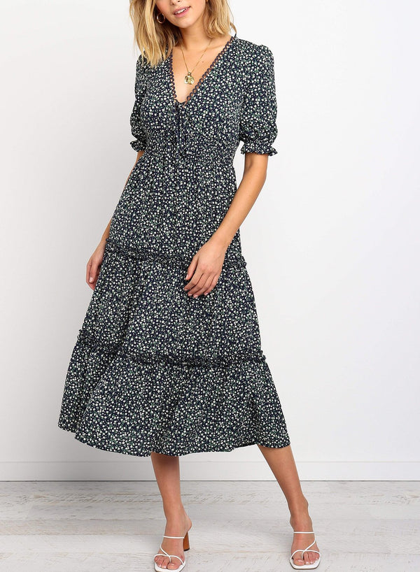 Tiered Ruffle Tie Front Floral Midi Dress