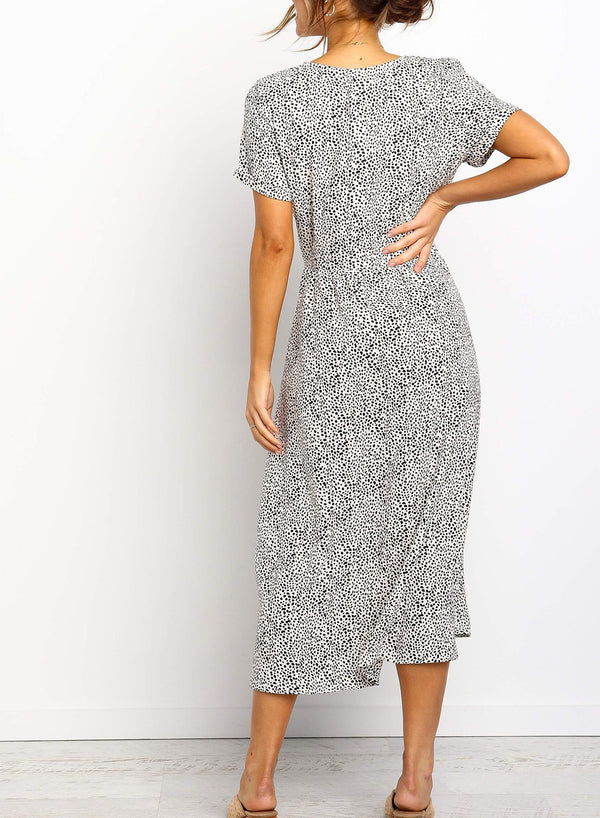 V Neck Button Down Front Midi Dress