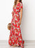 Tie Front Frilled Floral Maxi Dress With Pockets