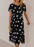 Polka Dot Midi Dress Women-Dresses- OrTrend