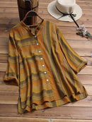 Vintage Striped Stand Collar Plus Size Blouse