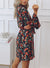 High Neckline Waist Tie Floral Dress