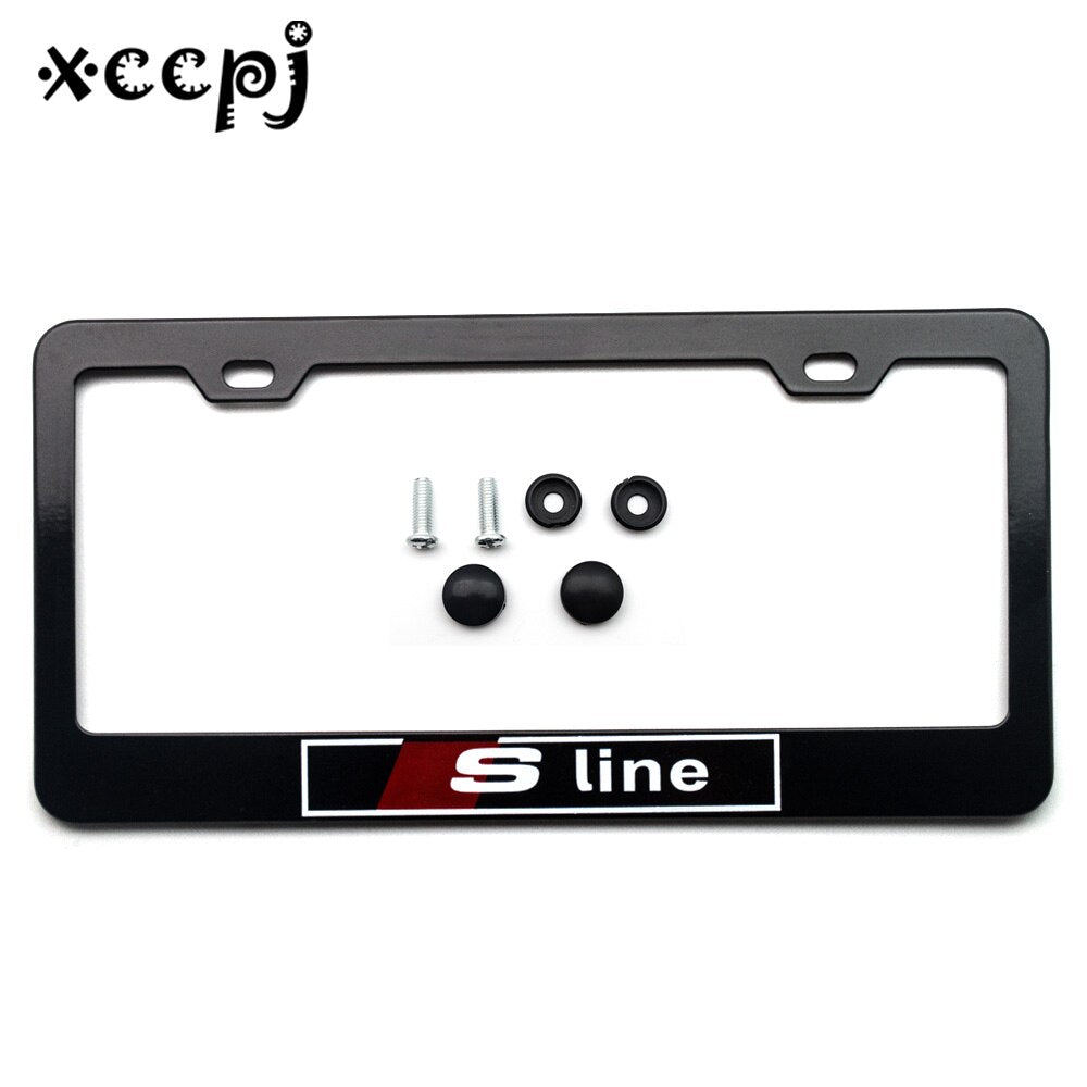 1 set Stainless Steel Universal Holes Black Car License Plate Frame Number plate Holder - Car Diagnostic Tool