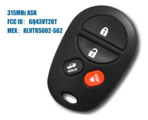 4 buttons Remote Smart key 315Mhz For Toyota trunk Avalon Solara 2004-2008 GQ43VT20T - Car Diagnostic Tool
