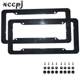 2x License Plate Frame Tag Cover Protection Rack Carbon Fiber Frame with screws ABS Car Number License Plate Frame Holder - Car Diagnostic Tool