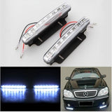 New 2PCS Super White 8 LED Universal Car Light Daytime Running Auto Lamp DRL Auxiliary Light In The Day