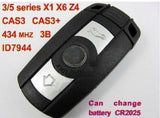 FULL Key Fob 433 MHZ for BMW 3/5 Series X1 X6 Z4 + CHIP ID7944 + ELECTRONICS CAS3 CAS3+