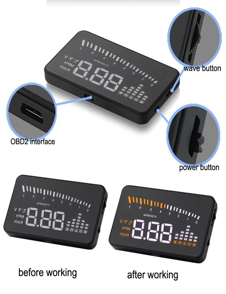 new x5 HUD x5 head up display 3.5 inch with obd2 obdii interface for Universal Car alarm security system