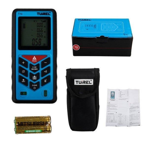 Tuirel T70 Handheld 70m/229ft/2755in Laser Distance Meter Range Finder Measure Instrument Diastimeter