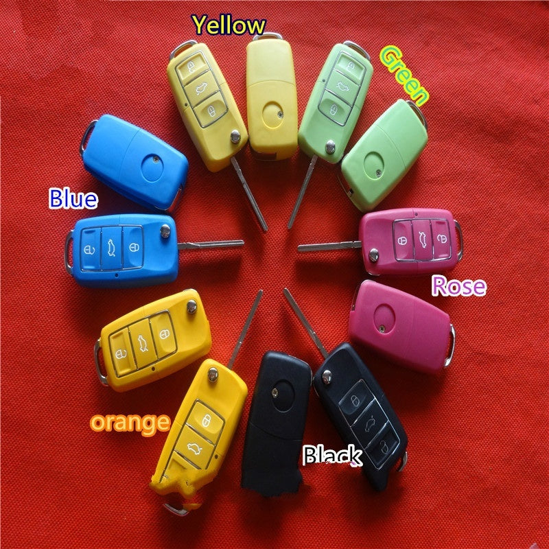 New Waterproof Black Color3 Button Remote Flip Folding Key Shell Replacement No Battery Holder for VW