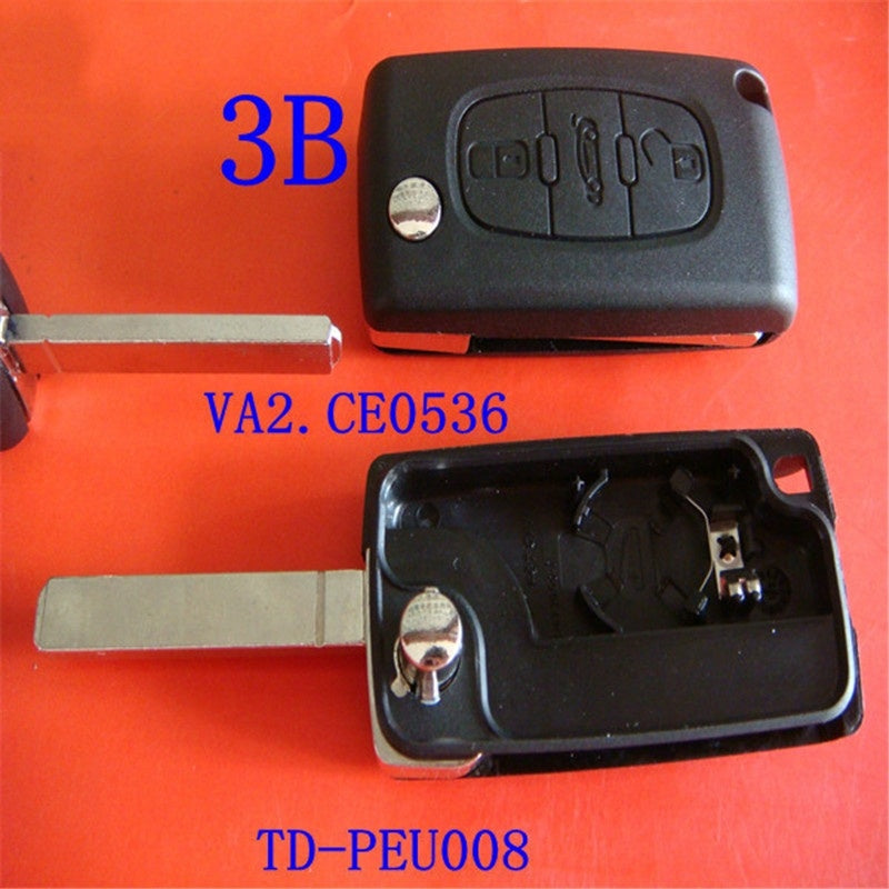 Uncut Blade Car key Replacement Key Shell Key Flip Key for PEUGEOT 207 307 307S 308 407 3 Buttons CE0536 VA2 with screwdriver