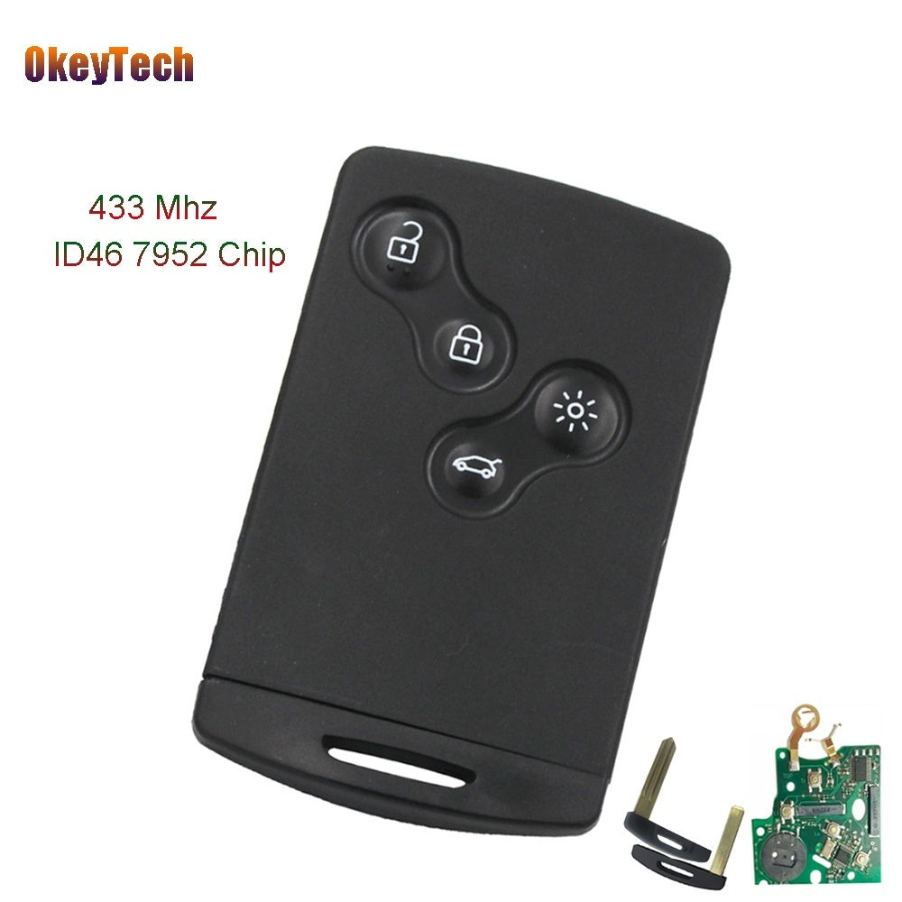 4 Button Smart Card Remote Car Key Fob For Renault Megane Koleos 433MHZ PCF7952 ID46 Chip Intelligent Card Uncut Blade - Car Diagnostic Tool