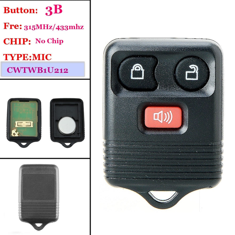 Good quality (1 piece )3Button Remote Key Fob For Ford 2001 2002 2003 2004 2005 2006 2007 Explorer For Ford REMOTE(CWTWB1U345)
